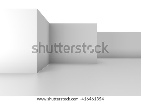 plain white wall background in a simple 3D Illustration - stock photo