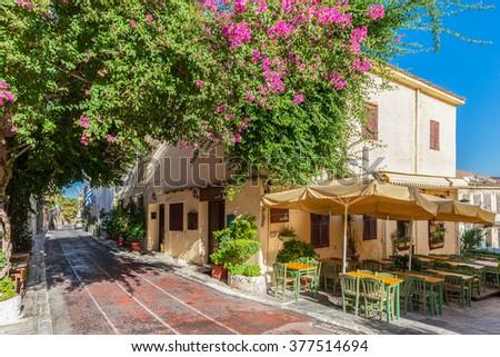 Plaka neighbourhood near Acropolis, Athens, Greece - stock photo