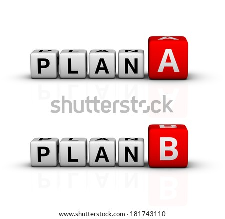 plan A and B icon (red-white crossword series) - stock photo