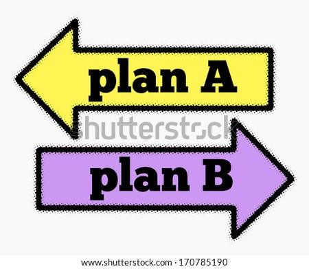 Plan A and plan B signs in yellow and purple arrows concept - stock photo