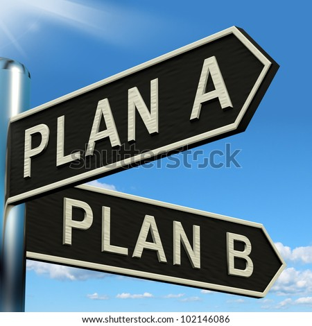 Plan A or B Choice Showing Strategy Change Or Dilemmas