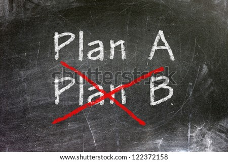 Plan A or Plan B, written on a blackboard. The concept of choice.