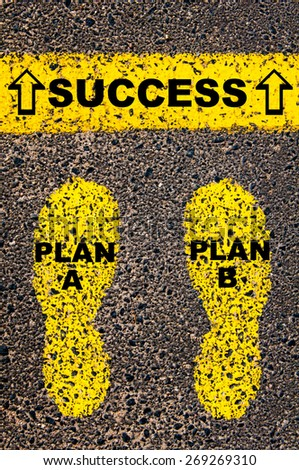 Plan A Plan B to Success message. Conceptual image with yellow paint footsteps on the road in front of horizontal line over asphalt stone background.  - stock photo