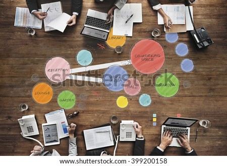 Plan Co working Space Mind Mapping Concept - stock photo