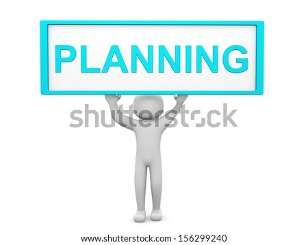 Plan concept.Isolated on white background.3d rendered