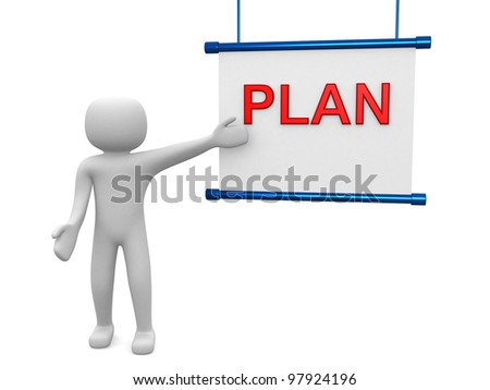 Plan concept.Isolated on white background.3d rendered.