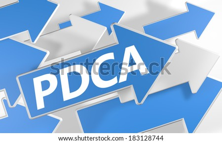 Plan Do Check Act 3d render concept with blue and white arrows flying over a white background. - stock photo