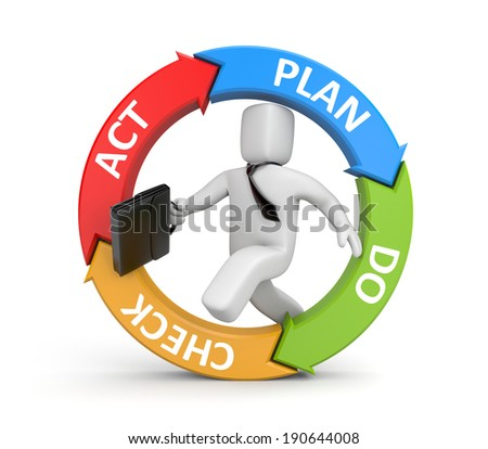 Plan Do Check Act diagram with running businessman - stock photo