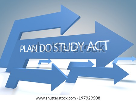 Plan Do Study Act 3d render concept with blue arrows on a bluegrey background. - stock photo