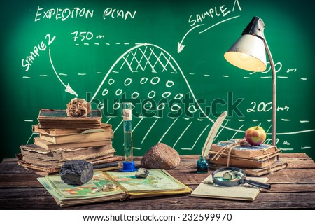 Plan expedition at geography lesson - stock photo