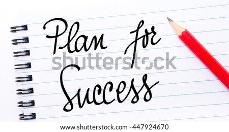 Plan For Success written on notebook page with red pencil on the right
