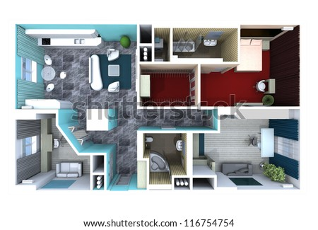 plan in the apartment, with furniture - stock photo
