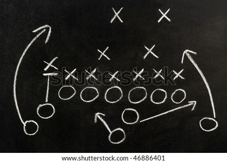 Plan of a football game - stock photo