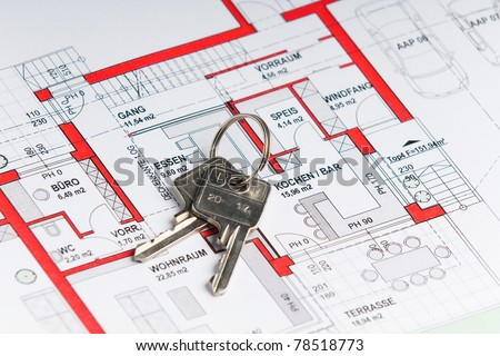 plan of a house with a key on it
