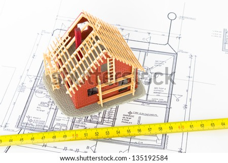 Plan of a new house - architect and builder - stock photo