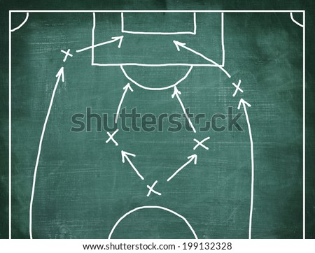Plan of a soccer game on a blackboard.  - stock photo