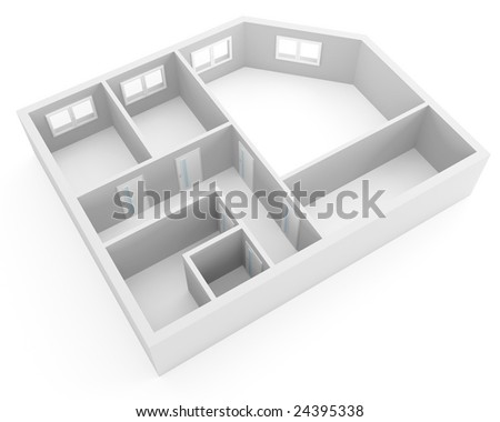 plan of modern apartment with empty rooms with windows and doors