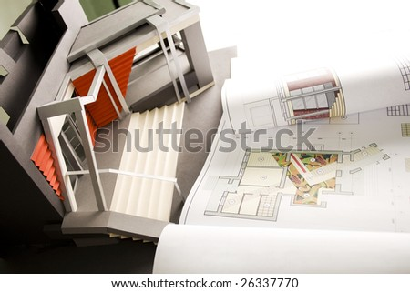 Plan project of a incoming group. Course work of student. - stock photo