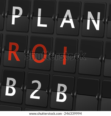 plan ROI B2B words on airport board background - stock photo