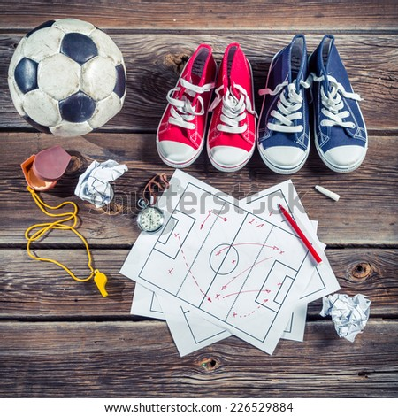 Plan to playing football in school - stock photo