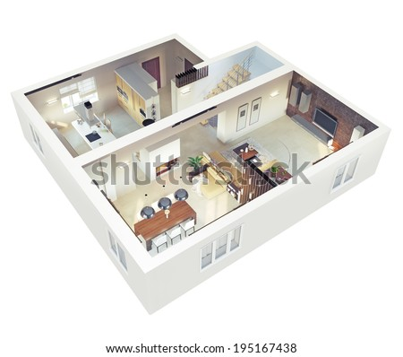 Plan view of an apartment.Ground floor. Clear 3d interior design.  - stock photo