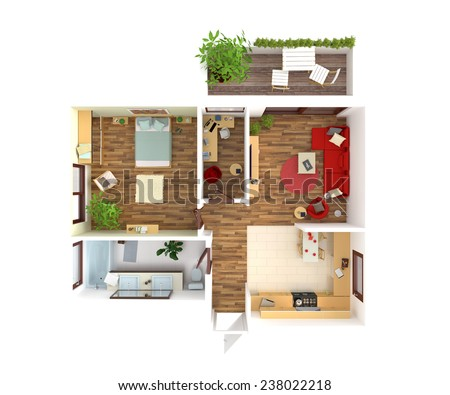 Plan view of an apartment:  Kitchen, Dining, Living, Bedroom, Hall, Bathroom.3D rendering - stock photo