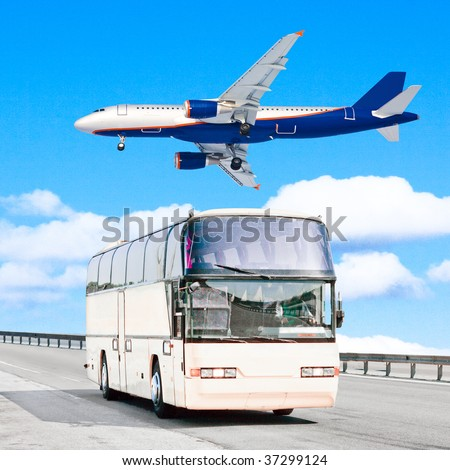 plane and bus - stock photo