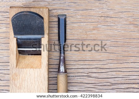 plane and chisel on wood /hand tools/japan tool - stock photo