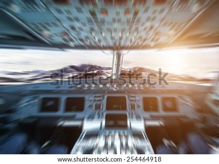 plane cockpit - stock photo