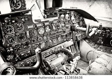 Plane cockpit, old aircraft interior in retro style - stock photo