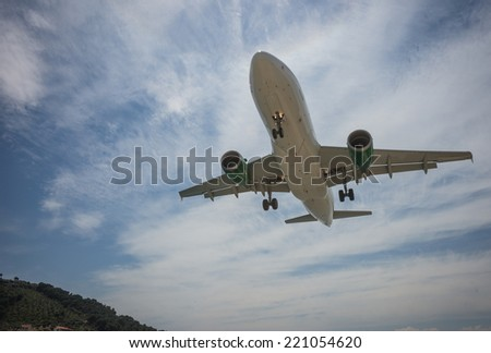 Plane coming in to land, Skiathos, Greece - stock photo