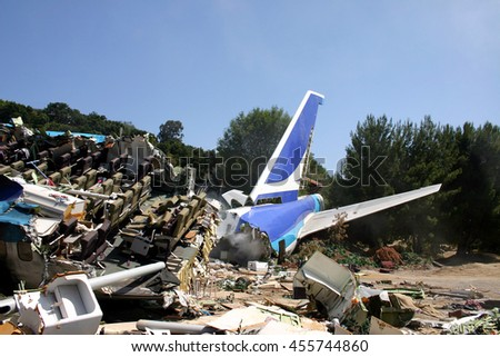 "Plane crash site from Universal's summer blockbuster ""War of the Worlds"" starring Tom Cruise and directed by Steven Spielberg in Universal Studios Hollywood in Universal City, USA on May 24, 2005. - stock photo"