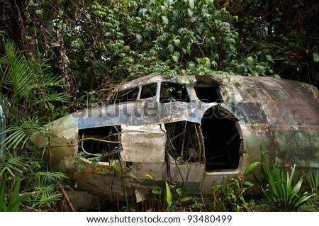 Plane crashed in the jungle.  Australia - stock photo