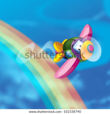 Plane fly to the rainbow - stock photo