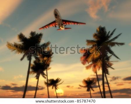 Plane flying over trees - stock photo