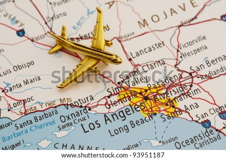 Plane Going To Los Angeles Map Is Copyright Free Off A Government Website Nationalatlas