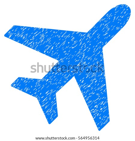 Plane grainy textured icon for overlay watermark stamps. Flat symbol with dust texture. Dotted glyph blue ink rubber seal stamp with grunge design on a white background.