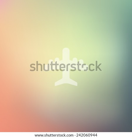 plane icon on blurred background - stock photo
