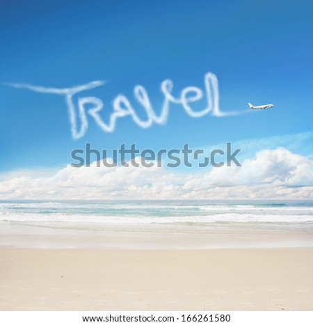 plane in the sky drawing word travel - stock photo