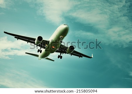 Plane in the sky. Feel of freedom.  - stock photo