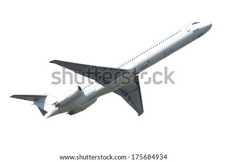 Plane is isolated on a clean white background. - stock photo