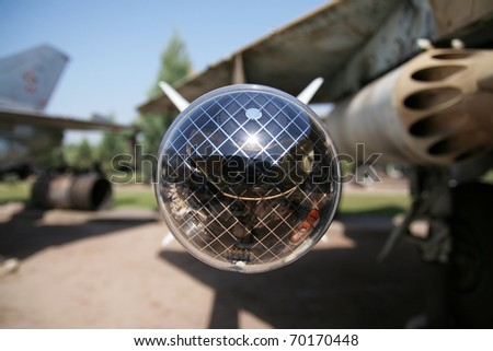 plane mounted radar guided missile - stock photo