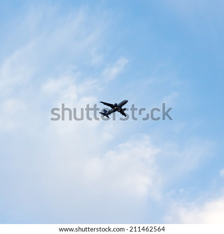 plane of the far background of the sky - stock photo