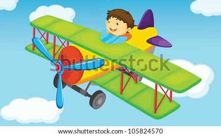 plane on a blue sky background - stock photo