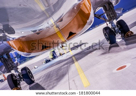 Plane on  station - stock photo