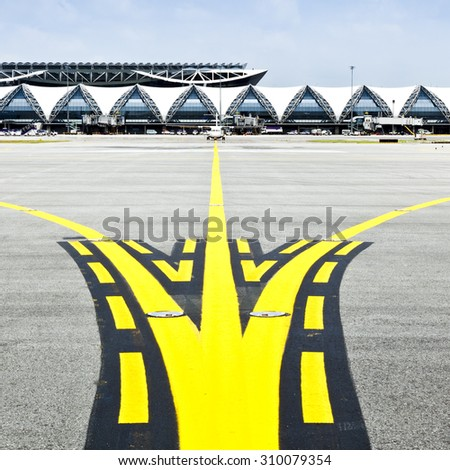 plane on taxiway - stock photo