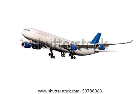 Plane on white. Airbus A-340 - stock photo