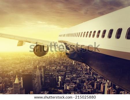Plane over NY - stock photo