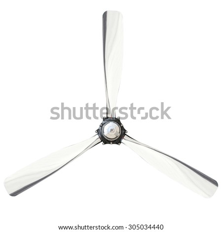 Plane propeller with 3 blade isolated on white background - stock photo