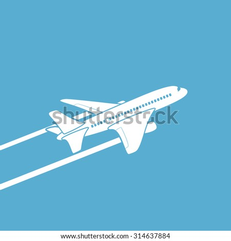 Plane silhouette against the sky. Stock image. - stock photo